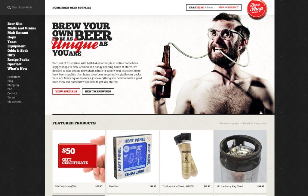 brew shop gutes Webshop Design